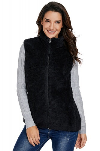 Black Faux fur High Neck Vest Jacket - Roseandjoy