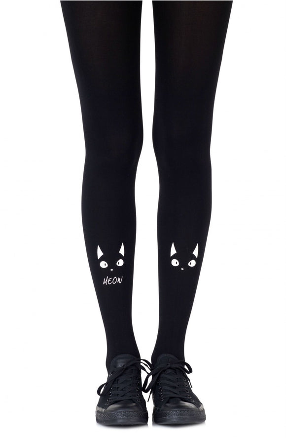 'Nice Kitty Meow' black printed tights - Roseandjoy