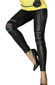 Zip-front Faux Leather Fashion Legging - Roseandjoy