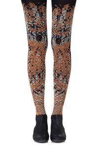 Tip the scale orange and grey black tights - Roseandjoy