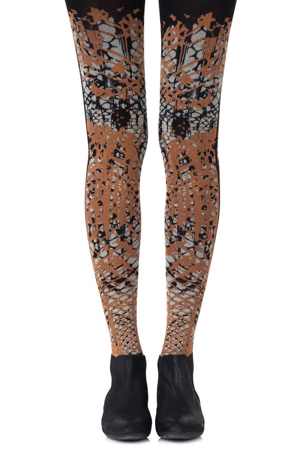 Tip the scale orange and grey black tights