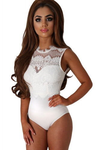 White Lace High Neck Cut Out Back Bodysuit - Roseandjoy