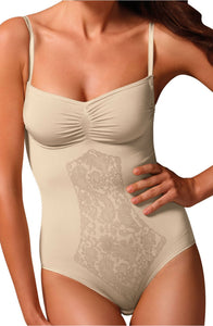 Front lace print nude body shaper - Roseandjoy