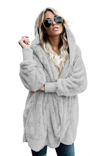 Grey Soft Fleece Hooded Open Front Coat - Roseandjoy