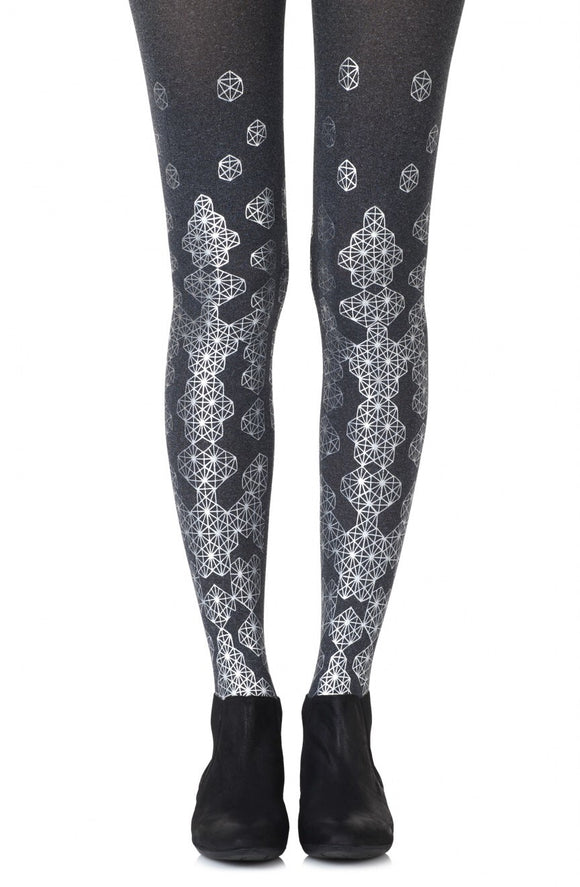 'Queen bee' silver print grey tights - Roseandjoy