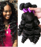 10-30 Inches Loose Wavy Virgin Indian Hair colour 1B, Natural Black - Roseandjoy
