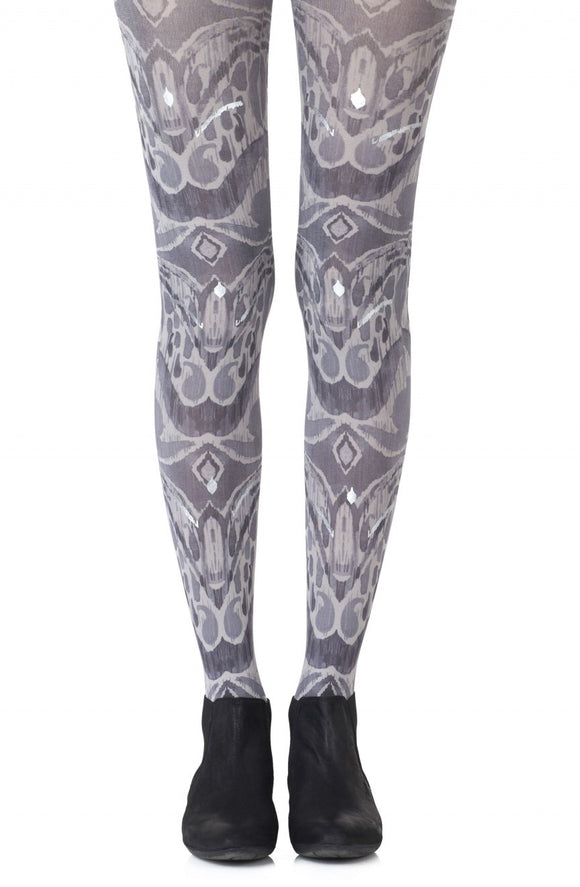 Silver haze print grey tights