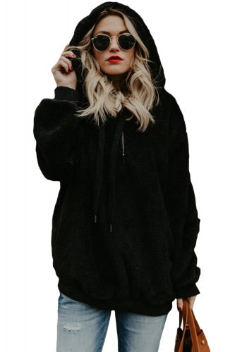Black Warm Fleece Pullover Hoodie - Roseandjoy