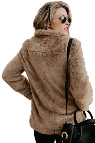 Brown faux fur Pocket Style Winter Coat - Roseandjoy