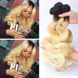 Ombre Remy Hair #1B/613 Body Wave - Roseandjoy