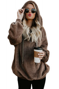 Brown Warm Fleece Pullover Hoodie - Roseandjoy