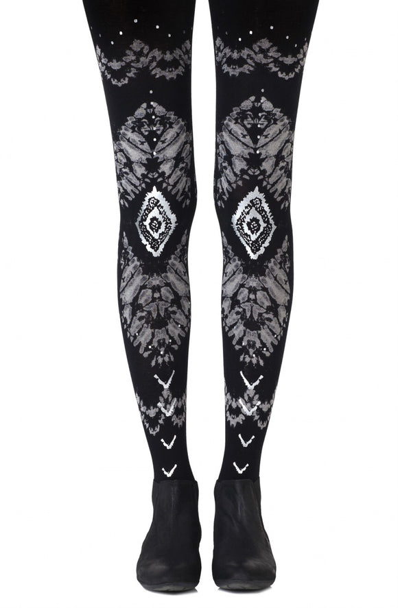 'The long and winding road' printed black tights - Roseandjoy