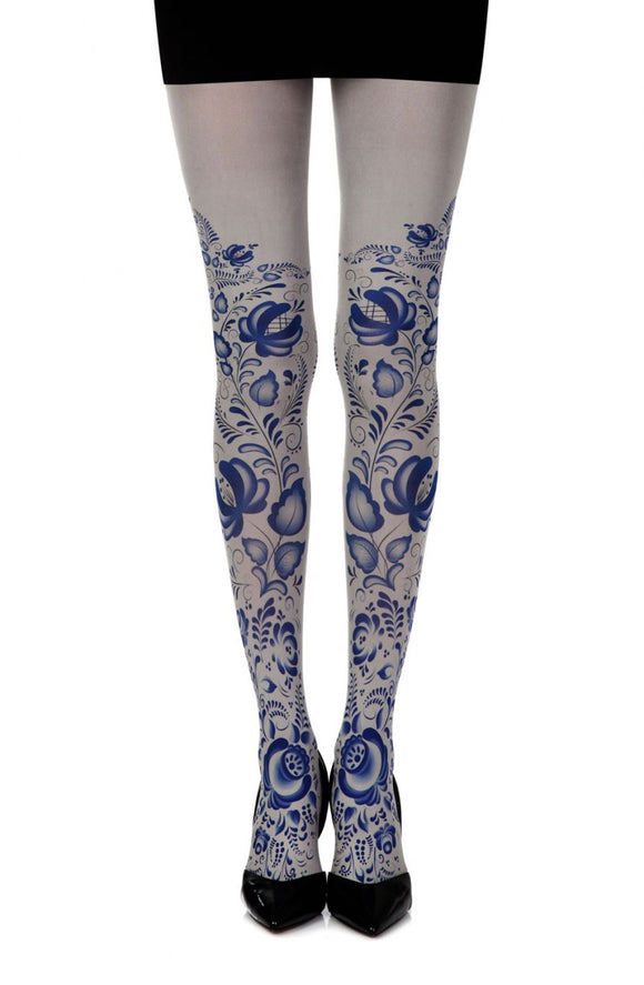 Blue Orchid print on grey tights - Roseandjoy