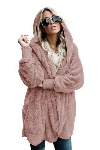 Dusty Pink Soft Fleece Hooded Open Front Coat - Roseandjoy