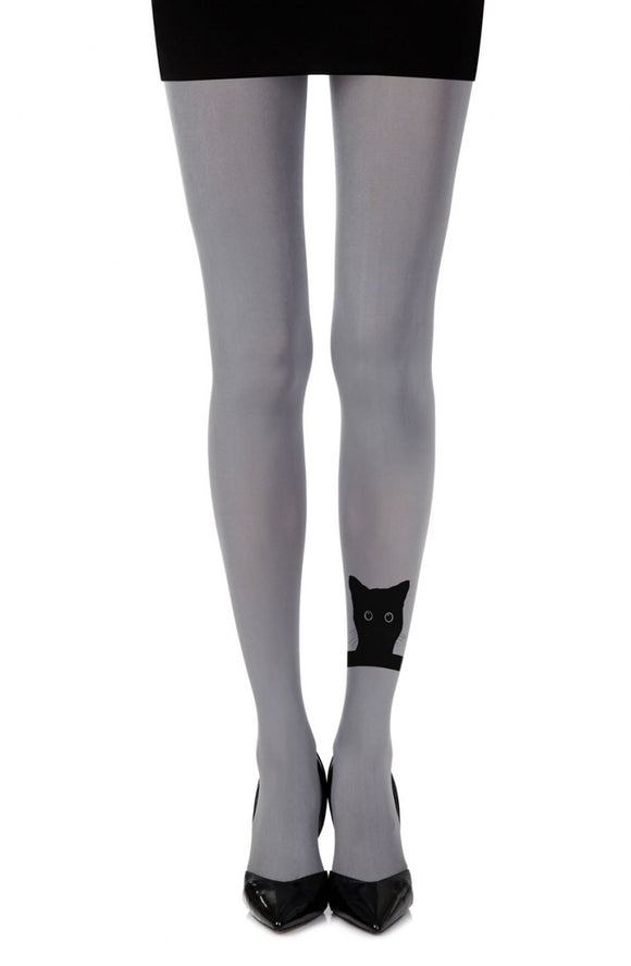 'Miyahoo' cat print grey tights - Roseandjoy