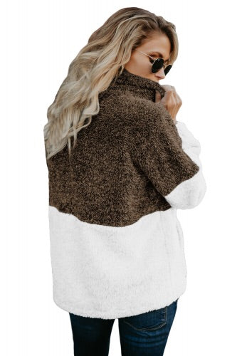 Brown and White Zip Neck Oversize Fluffy Fleece Pullover - Roseandjoy