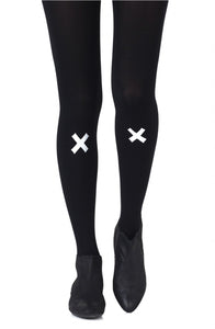 'Kiss and tell' light grey print on black tights - Roseandjoy