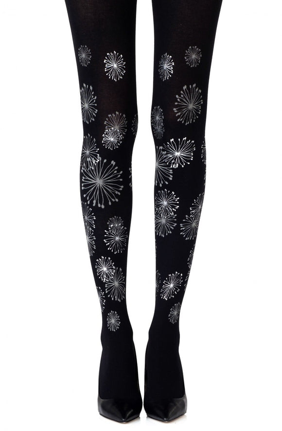 Fire works grey print on black tights - Roseandjoy