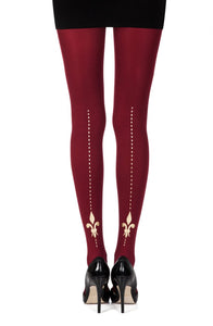 Lily of the valley burgundy gold printed tights - Roseandjoy