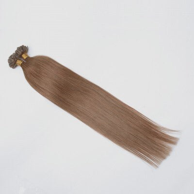 16-24 Inch Straight Nail Tip Remy Hair Extensions #8 Light Brown - Roseandjoy