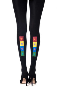 'United Colours' print black tights - Roseandjoy