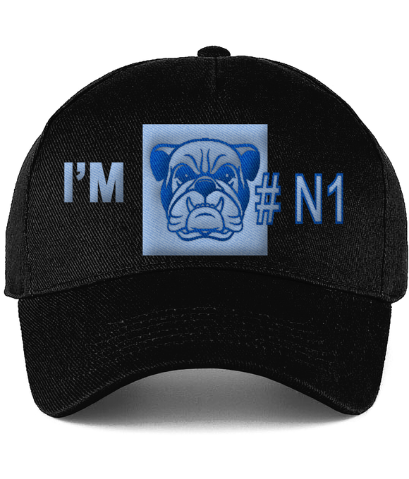 Ultimate Cotton Cap Bulldog head, I'm Number 1 - Roseandjoy