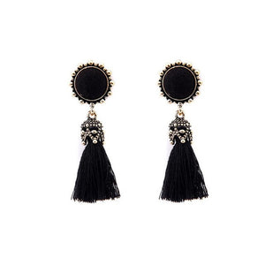 Antique Round Crystal Silk Long Tassel Earrings - Roseandjoy