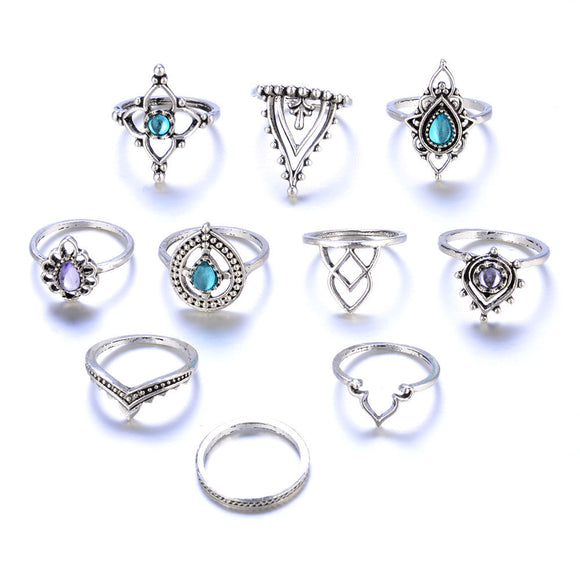 10 PIECES/SET Women'S Bohemian Vintage Silver Stack of  Rings - Roseandjoy