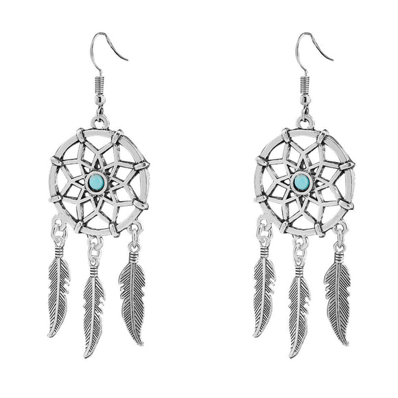 Dreamcatcher Feather Silver Tone Blue Bead Necklace and Earrings - Roseandjoy