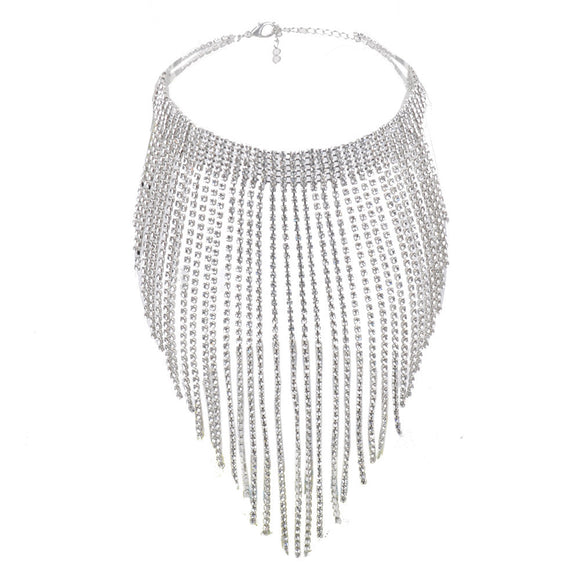 Long Crystal Diamond Tassel Multilayered Necklace - Roseandjoy