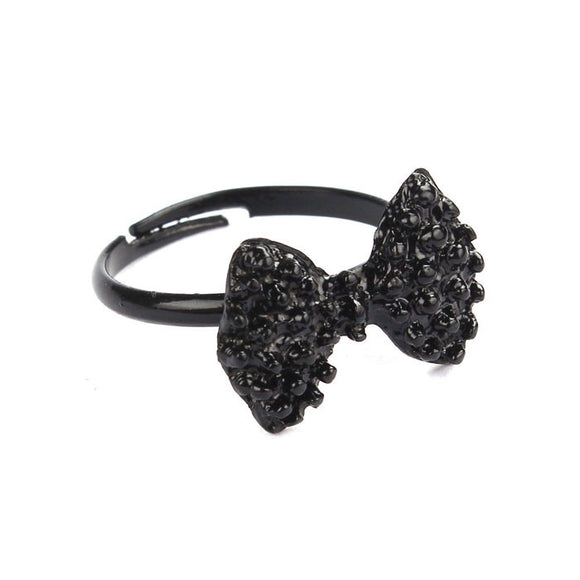 Black Bow-Tie Adjustable Ring - Roseandjoy