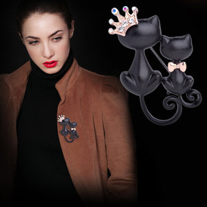 Cat Brooch, Crystal Crown Queen - Roseandjoy