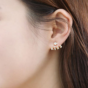 Lovely Gold Plated Crystal Rhinestone Kiss Letter Ear Stud Earring - Roseandjoy