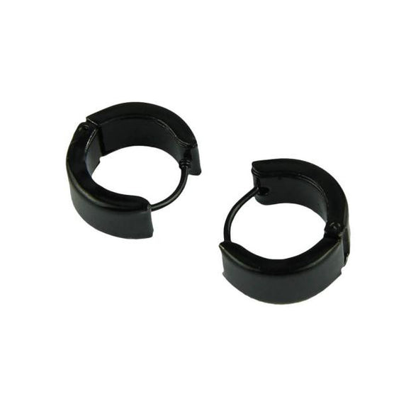 Unisex Black Hoop Earrings in Stainless Steel