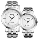 1 pair Men And Women's Single Quartz Stainless Steel Wrist Watches - Roseandjoy