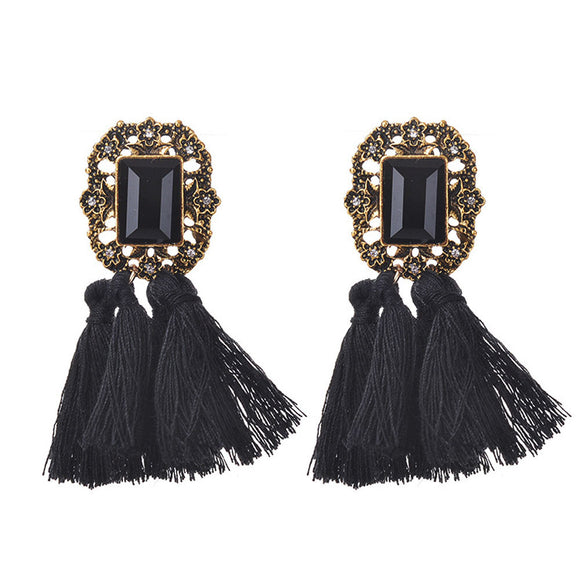 Women Fashion Rhinestones Wool Tassels Earring Gorgeous Jewelry Retro Black - Roseandjoy