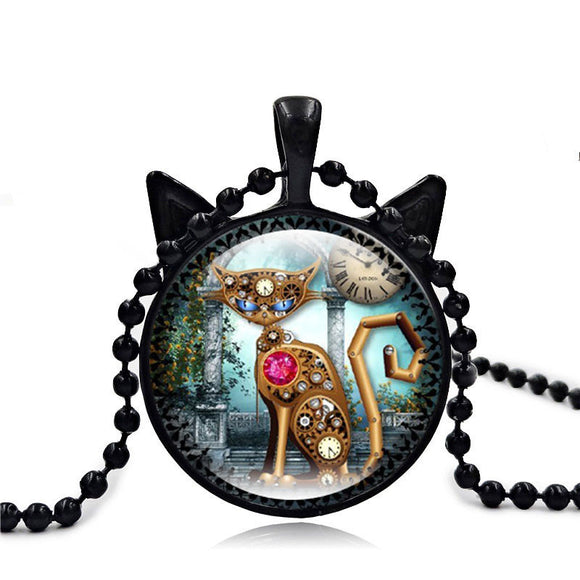 Mechanical Cat Art Picture Necklace - Roseandjoy