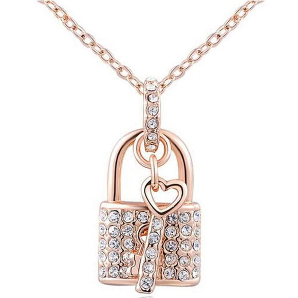 Women's Rose Gold Padlock Chain Necklace