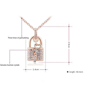 Women's Rose Gold Padlock Chain Necklace - Roseandjoy