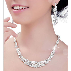 Crystal Bridal Jewelry Sets Hotsale Necklace+earrings Jewelry Wedding - Roseandjoy
