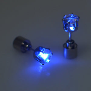 1 Pair Fashion Dance Party Accessories Light Up LED Bling Ear Studs Earring Blue - Roseandjoy