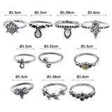 10 PIECES/SET Women's Bohemian Vintage Silver above Knuckles Rings - Roseandjoy
