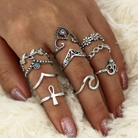 10 PIECES/SET Women's Bohemian Vintage Silver Rings - Roseandjoy