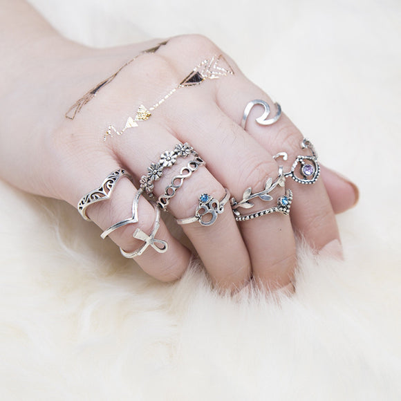 10 PIECES Set of Women's Bohemian Vintage Rings - Roseandjoy