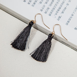 Bohemian Earrings Women Long Tassel Fringe Dangle Earrings Black - Roseandjoy