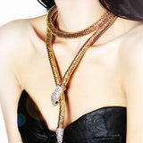 Dual-purpose Gold / Sliver Long Shape Snake Necklace - Roseandjoy
