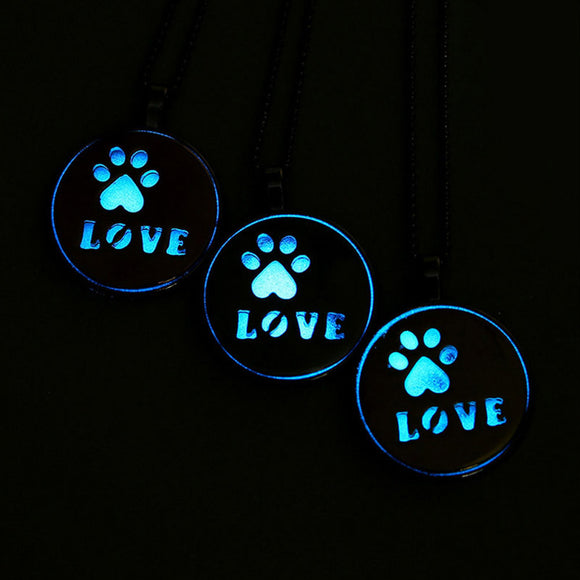 Hollow Love Letter Luminous Pendant Necklace, Dog Feet Chain - Roseandjoy