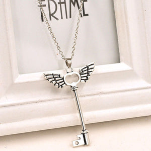 Angel wings Key Friendship Long Chain Silver Necklace - Roseandjoy