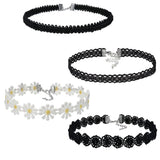 4 Pieces Choker Necklace Set, Stretch Velvet Classic Tattoo Lace Choker - Roseandjoy