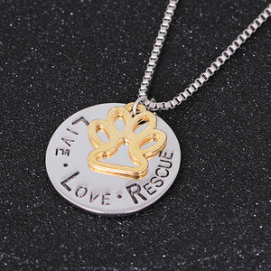 Round Letter Dog Claws Card  Necklace - Roseandjoy